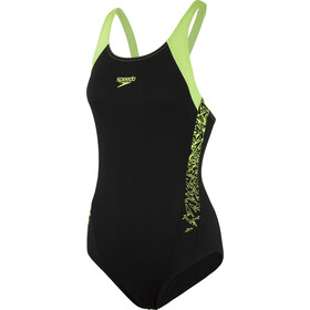 speedo Boom Splice Muscleback Swimsuit Damer, black/green